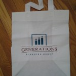 Fabric grocery bags encouraged helping all generations avoid hunger.